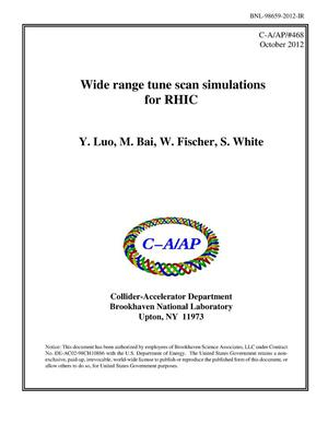 Primary view of object titled 'Wide Range Tune Scan Simulations for RHIC'.
