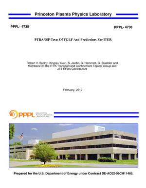 Primary view of object titled 'PTRANSP Tests Of TGLF And Predictions For ITER'.