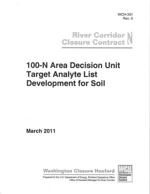 Primary view of object titled '100-N Area Decision Unit Target Analyte List Development for Soil'.