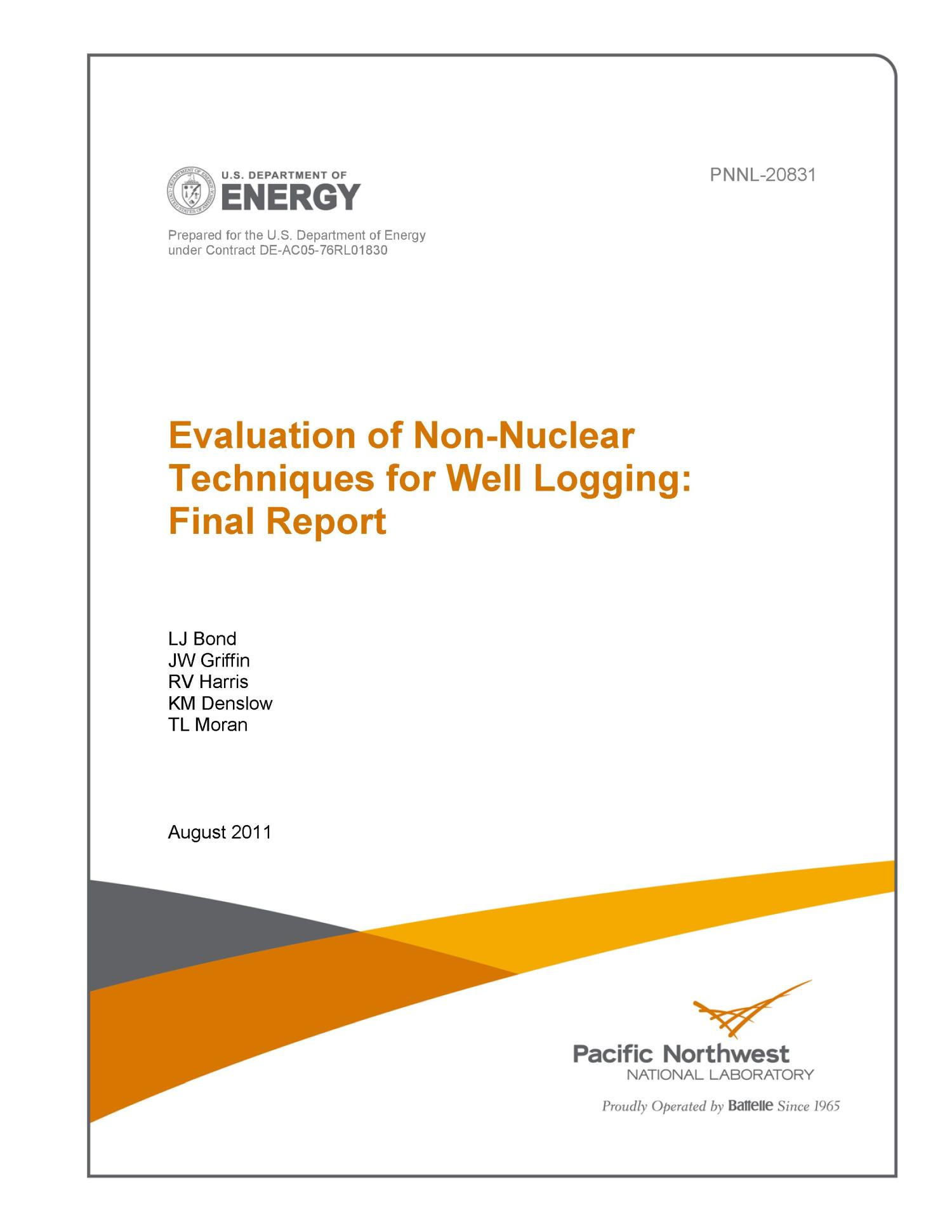 Evaluation of Non-Nuclear Techniques for Well Logging: Final Report                                                                                                      [Sequence #]: 1 of 38