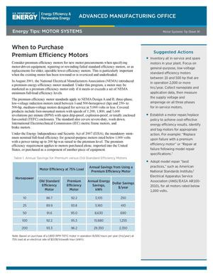 Primary view of object titled 'When to Purchase Premium Efficiency Motors, Motor Systems Tip Sheet #1 (Fact Sheet)'.