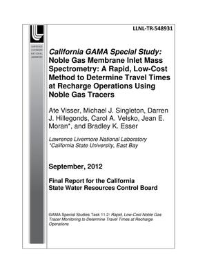 Primary view of object titled 'California GAMA Special Study: A Noble Gas Membrane Inlet Mass Spectrometry (NG-MIMS) system for water and gas samples'.