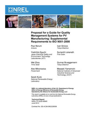 Primary view of object titled 'Proposal for a Guide for Quality Management Systems for PV Manufacturing: Supplemental Requirements to ISO 9001-2008 (Revised)'.