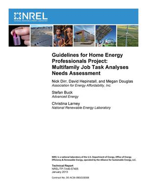 Primary view of object titled 'Guidelines for Home Energy Professionals Project: Multifamily Job Task Analyses Needs Assessment'.