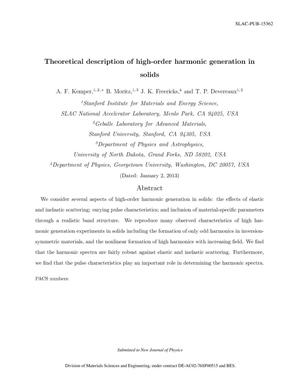 Primary view of object titled 'Theoretical Description of High-order Harmonic Generation in Solids'.