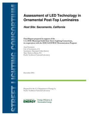 Primary view of object titled 'Assessment of LED Technology in Ornamental Post-Top Luminaires (Host Site: Sacramento, CA)'.