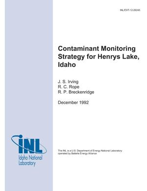 Primary view of object titled 'Contaminant Monitoring Strategy for Henrys Lake, Idaho'.