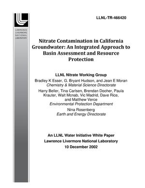Primary view of object titled 'Nitrate Contamination in California Groundwater: An Integrated Approach to Basin Assessment and Resource Protection'.
