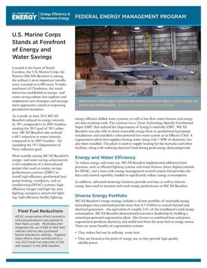 Primary view of object titled 'U.S. Marine Corps Stand at Forefront of Energy and Water Savings (Fact Sheet)'.