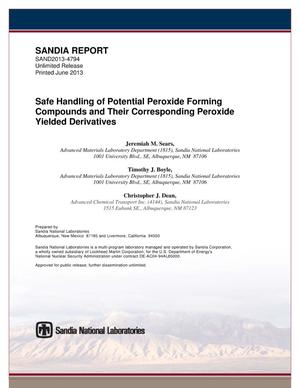 Primary view of object titled 'Safe handling of potential peroxide forming compounds and their corresponding peroxide yielded derivatives.'.