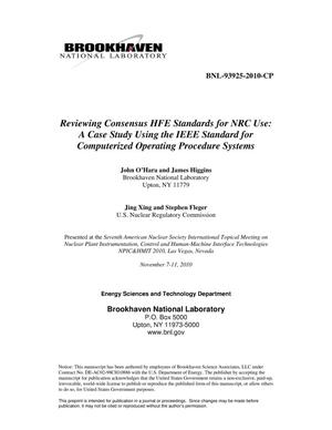 Primary view of object titled 'Reviewing Consensus HFE Standards for NRC Use: A Case Study using the IEEE Standard for Computerized Operating Procedure Systems'.