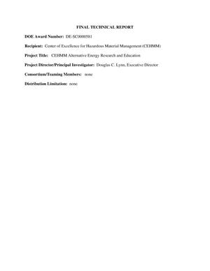 Primary view of object titled 'Final Technical Report, DE-SC0000581'.