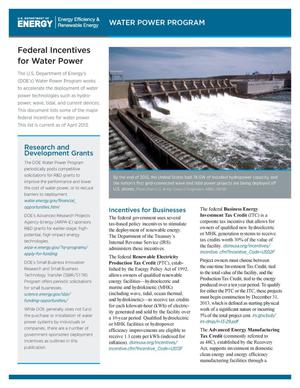Primary view of object titled 'Federal Incentives for Water Power (Fact Sheet)'.