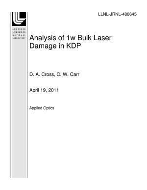 Primary view of object titled 'Analysis of 1w Bulk Laser Damage in KDP'.