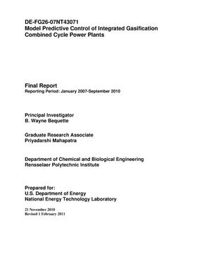 Primary view of object titled 'Model Predictive Control of Integrated Gasification Combined Cycle Power Plants'.