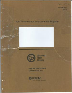 Primary view of object titled 'FUEL PERFORMANCE IMPROVEMENT PROGRAM - Quarterly Progress Report April - June 1978 FUEL PERFORMANCE IM?ROVEMENT PROGRAM FUEL PERFORMANCE PROGRAM: Quarterly Progress Report April June 1978'.