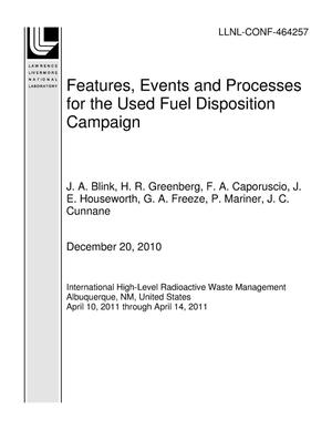Primary view of object titled 'Features, Events and Processes for the Used Fuel Disposition Campaign'.