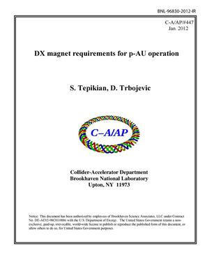Primary view of object titled 'DX magnet requirements for p-AU operation'.