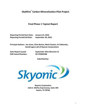 Primary view of object titled 'SkyMine Carbon Mineralization Pilot Project'.