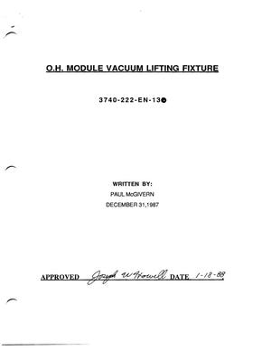 Primary view of object titled 'O.H. Module Vacuum Lifting Fixture'.