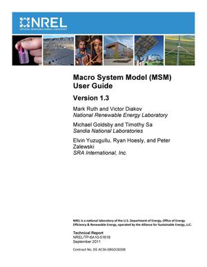 Primary view of object titled 'Macro System Model (MSM) User Guide, Version 1.3'.