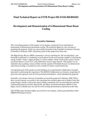 Primary view of object titled 'Final Technical Report on STTR Project DE-FG02-06ER86282 Development and Demonstration of 6-Dimensional Muon Beam Cooling'.