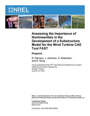 Primary view of object titled 'Assessing the Importance of Nonlinearities in the Development of a Substructure Model for the Wind Turbine CAE Tool FAST: Preprint'.