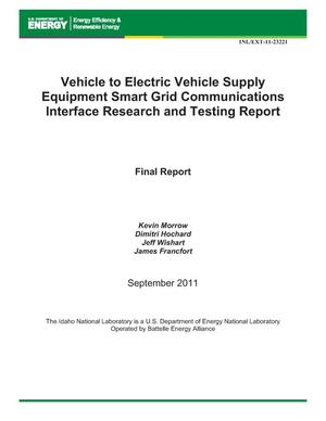 Primary view of object titled 'Vehicle to Electric Vehicle Supply Equipment Smart Grid Communications Interface Research and Testing Report'.
