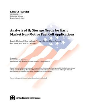 Primary view of object titled 'Analysis of H2 storage needs for early market non-motive fuel cell applications.'.