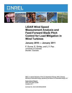 Primary view of object titled 'LIDAR Wind Speed Measurement Analysis and Feed-Forward Blade Pitch Control for Load Mitigation in Wind Turbines: January 2010--January 2011'.
