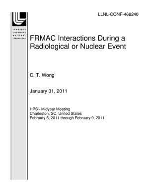 Primary view of object titled 'FRMAC Interactions During a Radiological or Nuclear Event'.