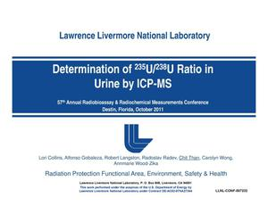 Primary view of object titled 'Determination of 235U/238U Ratio on Urine by ICP-MS'.