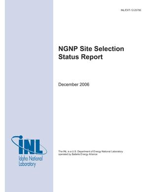 Primary view of object titled 'NGNP Site Selection Status Report'.