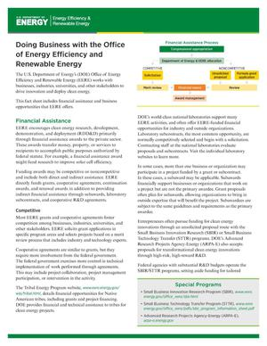 Primary view of object titled 'Doing Business with the Office of Energy Efficiency and Renewable Energy (EERE) (Fact Sheet)'.