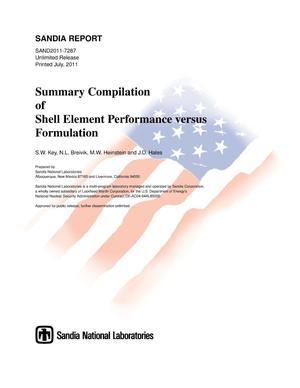 Primary view of object titled 'Summary compilation of shell element performance versus formulation.'.