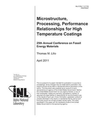Primary view of object titled 'Microstructure, Processing, Performance Relationships for High Temperature Coatings'.
