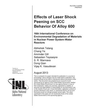 Primary view of object titled 'EFFECTS OF LASER SHOCK PEENING ON SCC BEHAVIOR OF ALLOY 600'.
