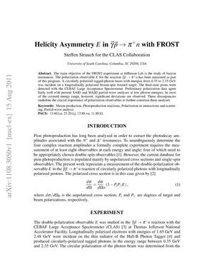 Primary view of object titled 'Helicity Asymmetry in gamma p -> pi+ n with FROST'.