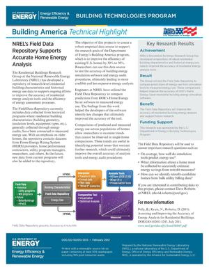 Primary view of object titled 'NREL's Field Data Repository Supports Accurate Home Energy Analysis (Fact Sheet)'.