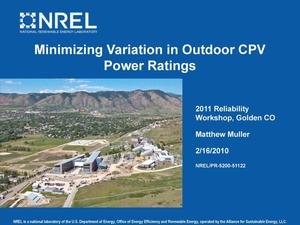 Primary view of object titled 'Minimizing Variation in Outdoor CPV Power Ratings (Presentation)'.