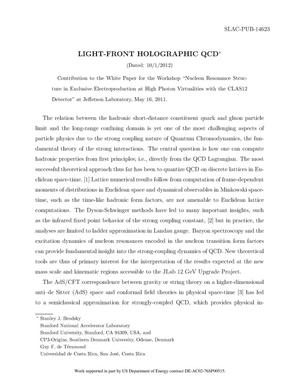 Primary view of object titled 'Light-Front Holographic QCD'.