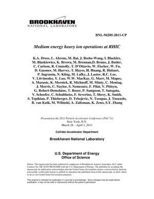 Primary view of object titled 'Medium energy heavy ion operations at RHIC'.