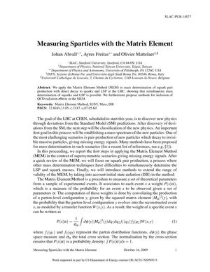 Primary view of object titled 'Measuring Sparticles with the Matrix Element'.