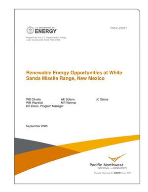 Primary view of object titled 'Renewable Energy Opportunities at White Sands Missile Range, New Mexico'.