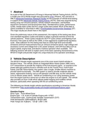 Model year 2010 Honda insight level-1 testing report
