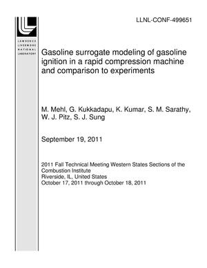 Primary view of object titled 'Gasoline surrogate modeling of gasoline ignition in a rapid compression machine and comparison to experiments'.