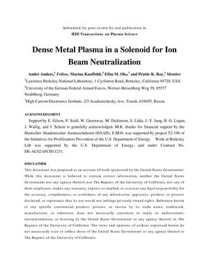 Primary view of object titled 'Dense Metal Plasma in a Solenoid for Ion Beam Neutralization'.