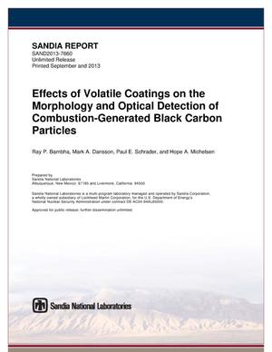 Primary view of object titled 'Effects of volatile coatings on the morphology and optical detection of combustion-generated black carbon particles.'.