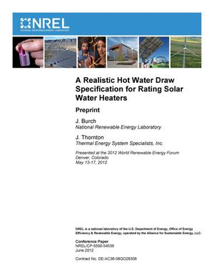 Primary view of object titled 'Realistic Hot Water Draw Specification for Rating Solar Water Heaters: Preprint'.