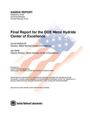 Primary view of object titled 'Final report for the DOE Metal Hydride Center of Excellence.'.